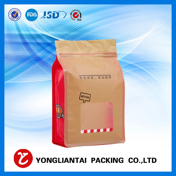 Brown block bottom kraft paper bags with zipper/valve for food