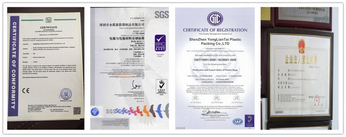 Certification of garment poly bag