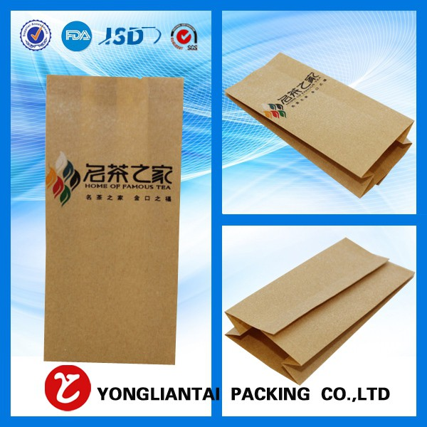 2016 New Custom Printed flat bottom brownkraft paper bags