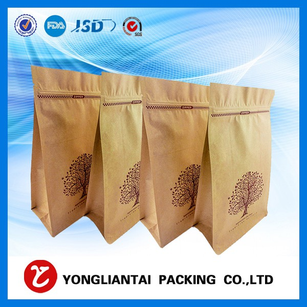 Food Grade Flat bottom kraft paper bags for coffee/food bags with valve