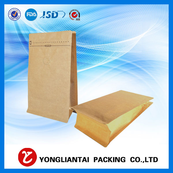 2016 New Brown block bottom kraft paper bags with zipper/valve for food