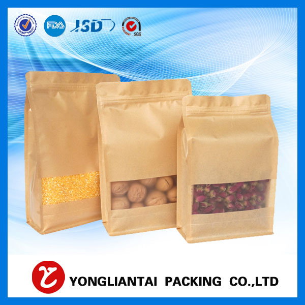 High quality Kraft brown paper block bottom bags