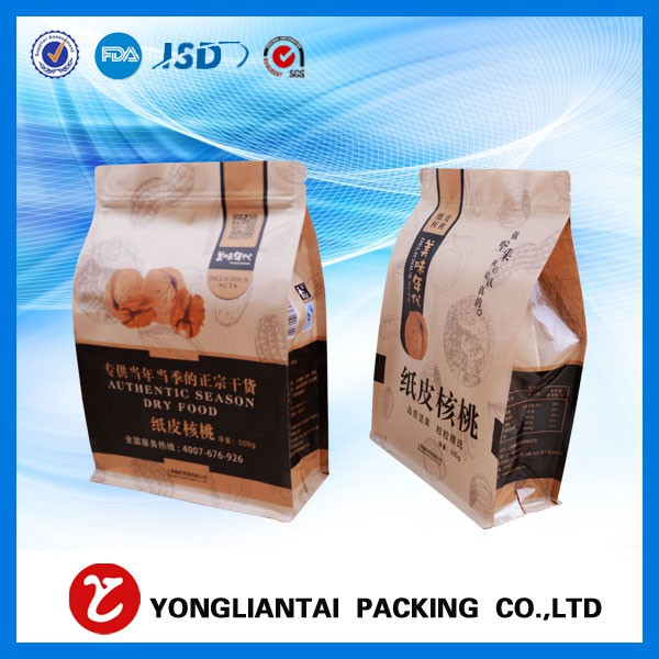 Flat bottom gusset bags with valve for packaging coffee
