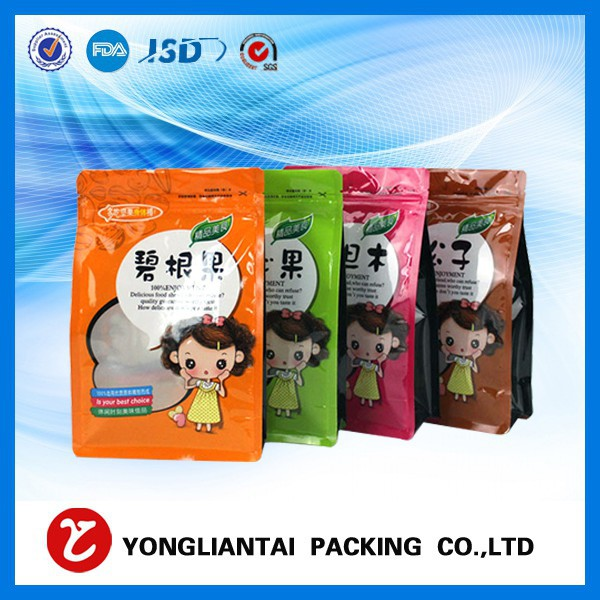 Square flat bottom zipper plastic bag