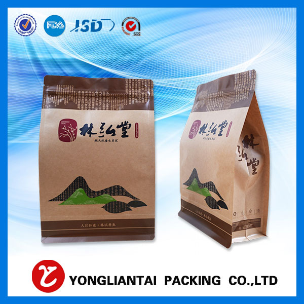 Kraft paper block bottom side gusset bag for food