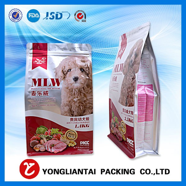 Pet food plastic bag with block bottom made in China 2016