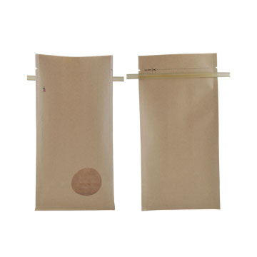 Kraft  paper flat bottom pouches with tin tie